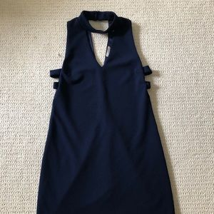 Navy mini dress with cut outs